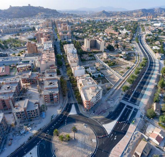 Obras de construcción de la vía de evacuación acceso Lorca-Sur Central